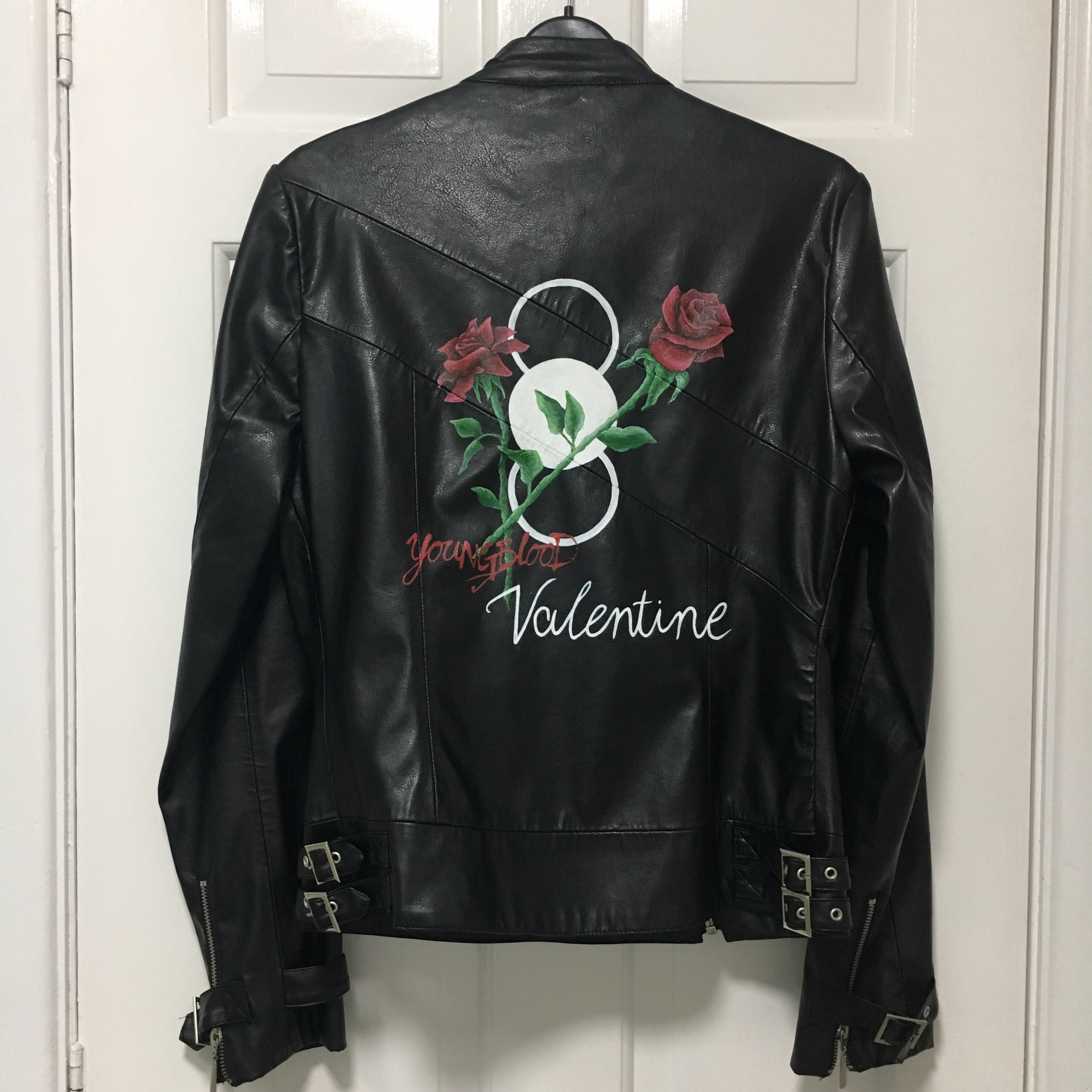 5sos inspired Hand painted black faux leather    - Depop