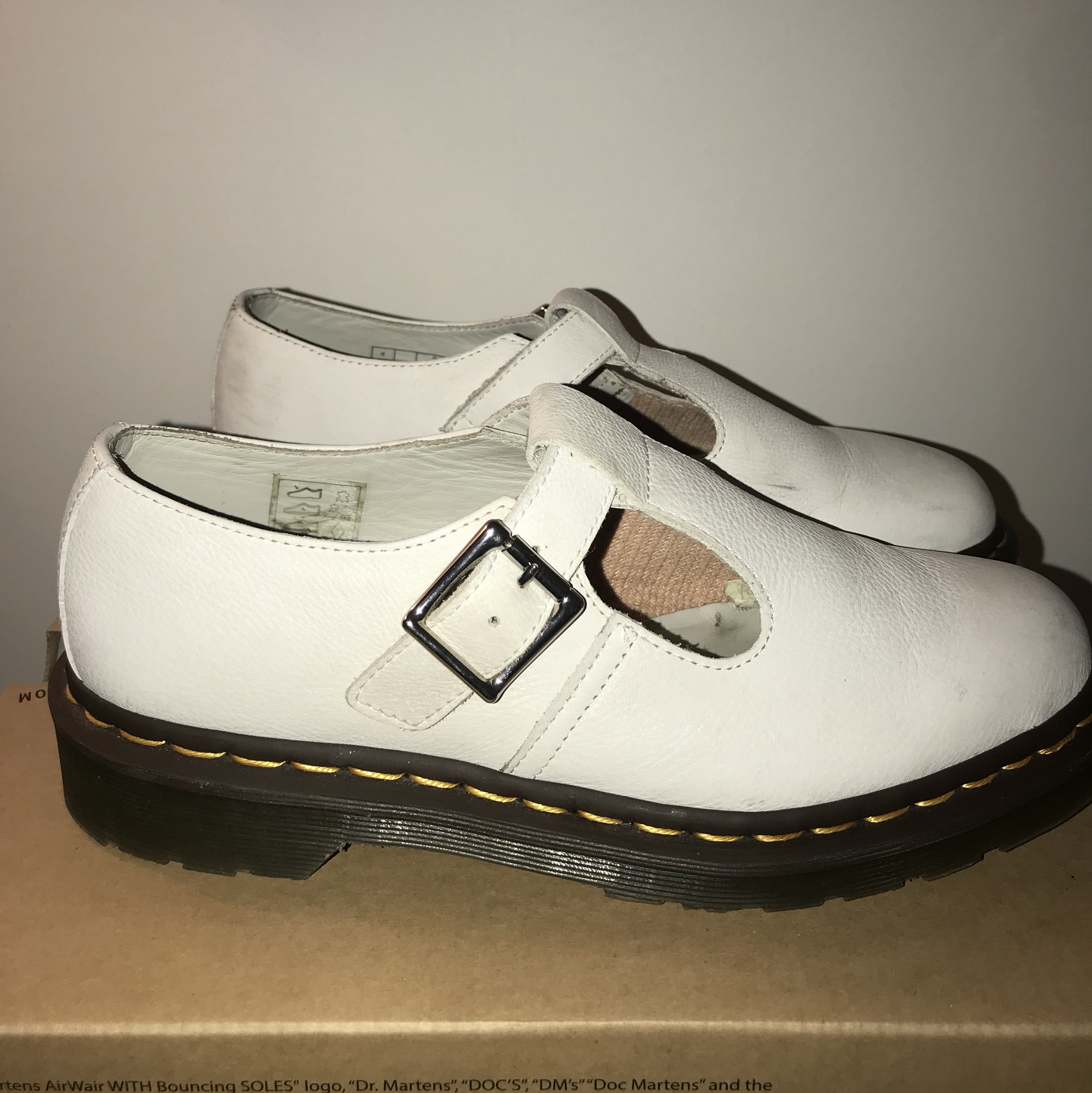 Dr martens polley shoes white. Size 6