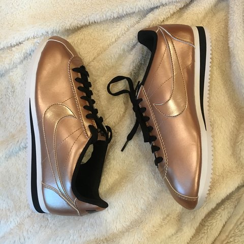 9e4babb691ad Sickening rose gold Nike Cortez sneakers. BRAND NEW! NEVER I - Depop