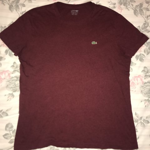 1164653f @emmajwilson93. 2 years ago. Portsmouth, United Kingdom. Men's burgundy/red  t-shirt. Lacoste size ...