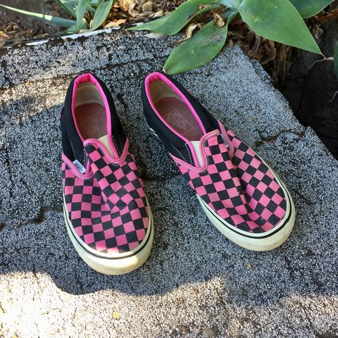 6afc1dca41 Pink checkered sip on vans 👌 has some light wear Tagged a - Depop