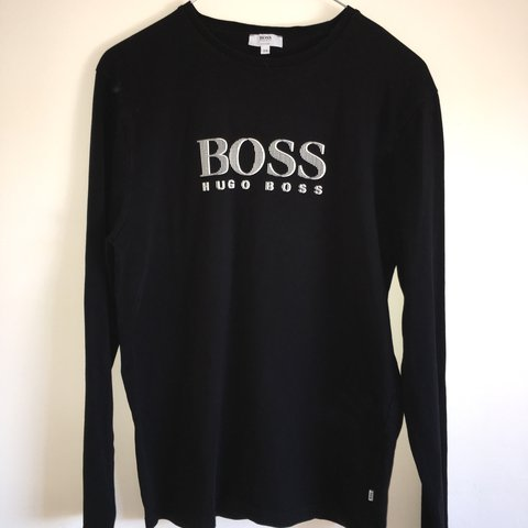 51ea24eca9db Boys black hugo boss long sleeve tshirt Fits men s xs 10 10 - Depop
