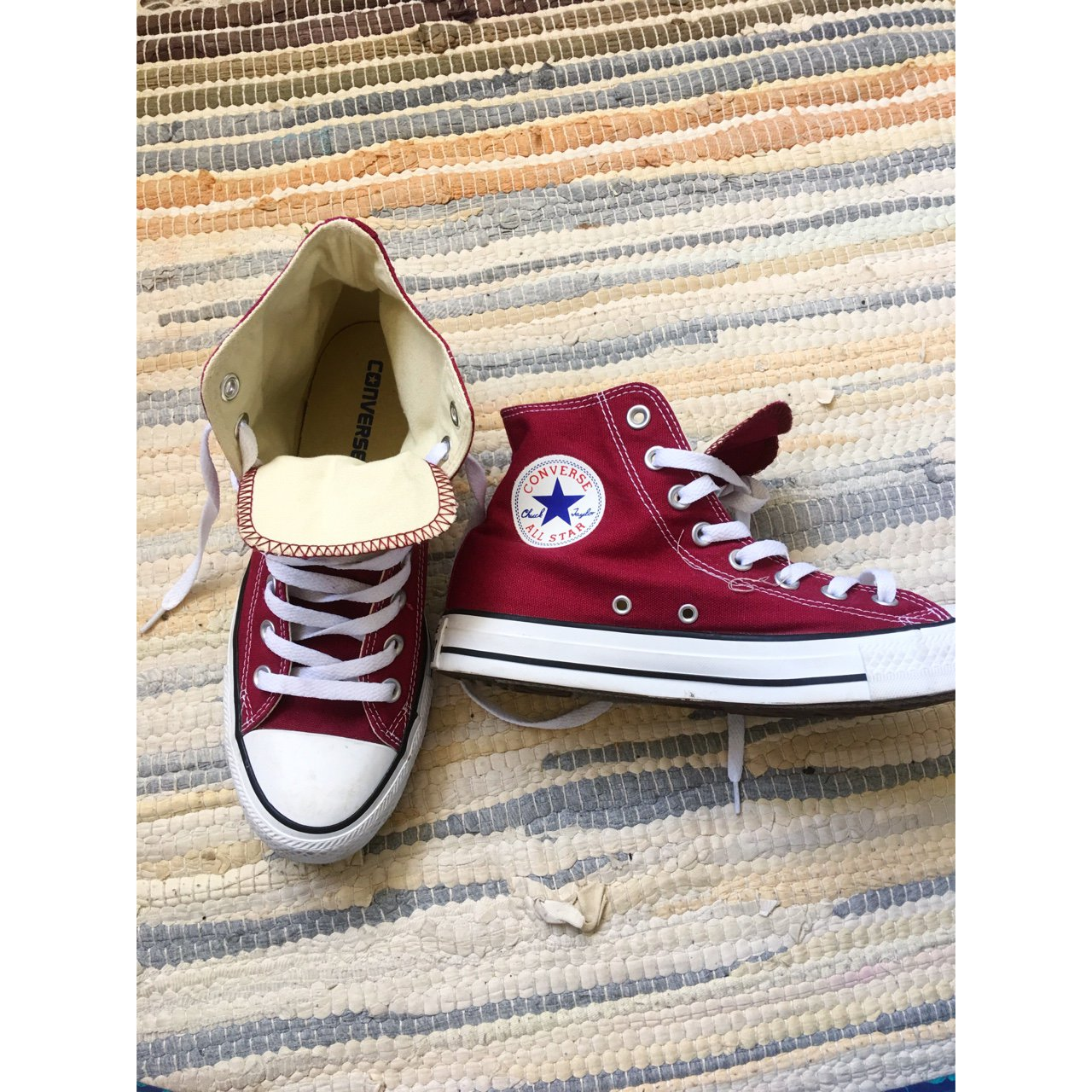 fea58ad2632 Converse. High tops. Red. UK size 7. Worn 3 times most as on - Depop