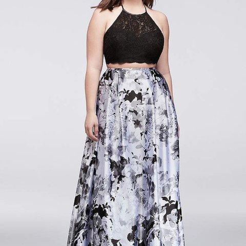 💕Plus Size prom dress💕 Black and white floral 2 piece Size - Depop