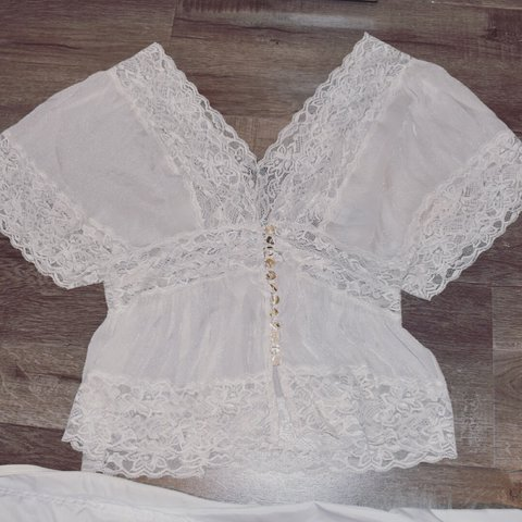 d0959096f lace top very delicate and cute has a glittering shimmery to - Depop