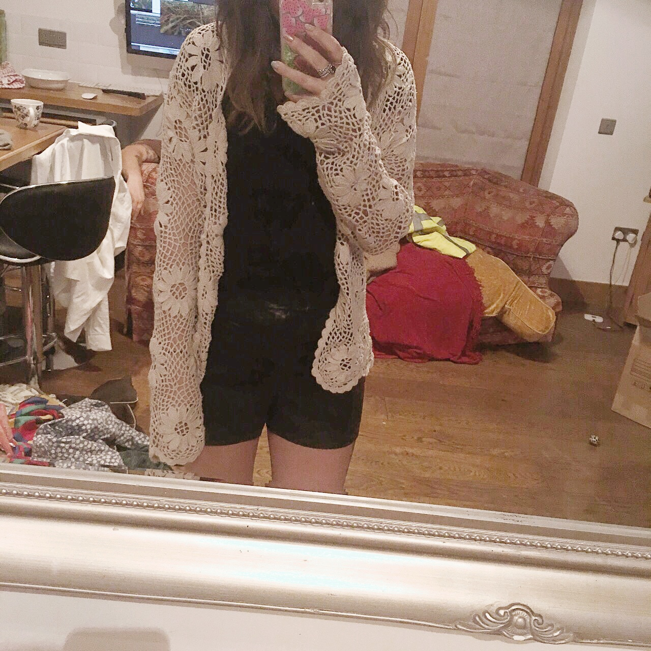 Crochet cardigan, looks lovely with a black cami and Depop