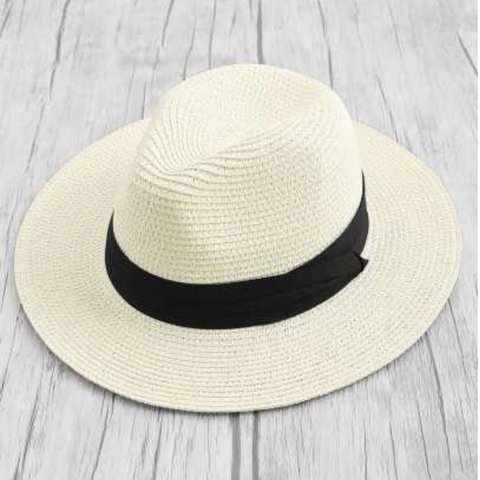 4543019a White and black fedora beach / summer straw hat Zara style - Depop