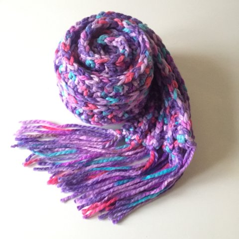 Hand Crocheted Chunky Knit Multi Colour Scarf One Of A Depop