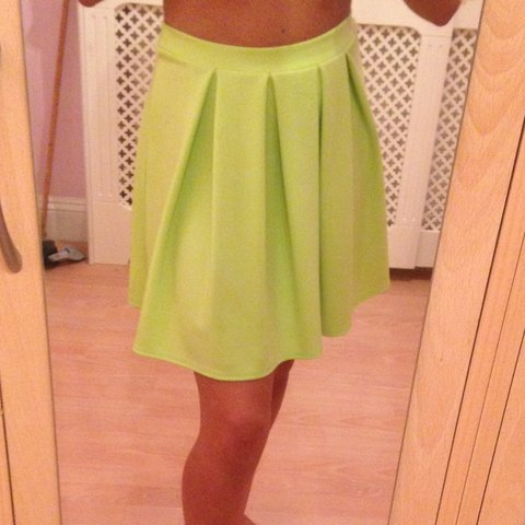 71456a5cf3 @kendallball. 3 years ago. Sidcup, UK. Lime green pleated skirt for sale! Size  10 ...