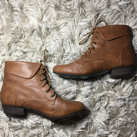 91bc4706718 Forever 21 brown lace up ankle boots with short heel Size - Depop