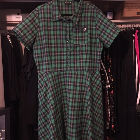 0d3c2a0a725 Sourpuss Plaid Button Down Dress in Green. Like new. Only - Depop