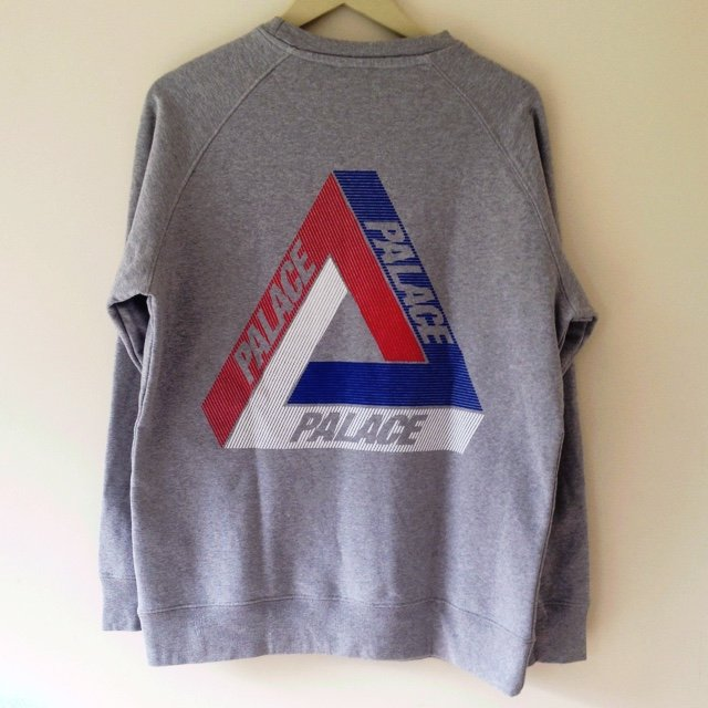 1d6c49c2a774 Palace Tri-Line Brit Crew Sweatshirt in Grey. Size XL. and - Depop