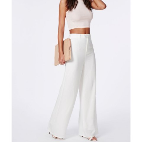 0d6d4f4ffd48 @yvonnemcnx. 2 years ago. Glasgow, UK. Petite premium crepe wide leg  trousers in white ...
