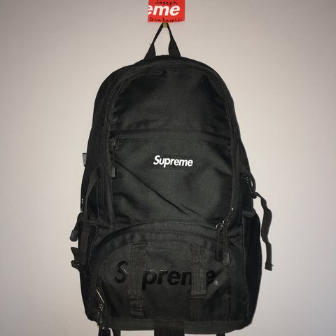 timeless design 551a5 13b6f ... 🔌SS15 Supreme backpack, black. 🔌Comes with waterproof me - Depop ...