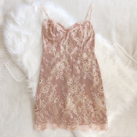 FL&L Bumble Bustier Dress in Rose Gold ♡ Floral