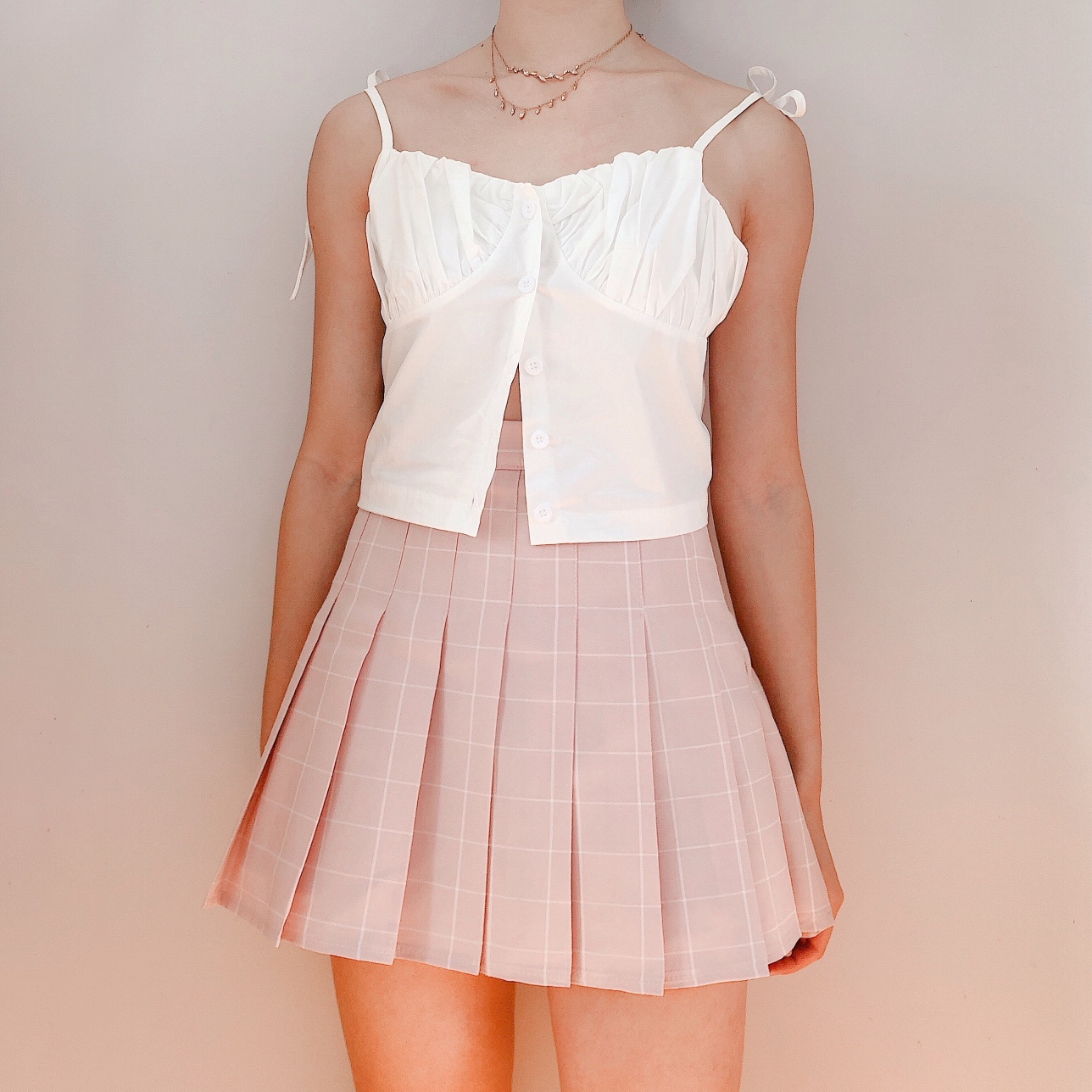 White Puff Bustier Cami ♡ Button up front with