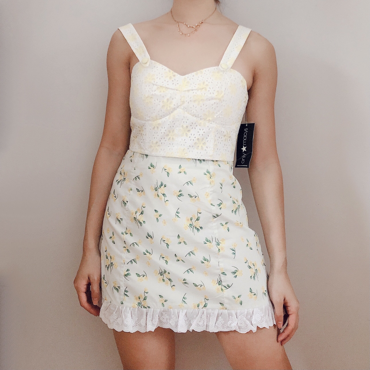 White & Yellow Daisy Floral Eyelet Bustier ♡ Padded