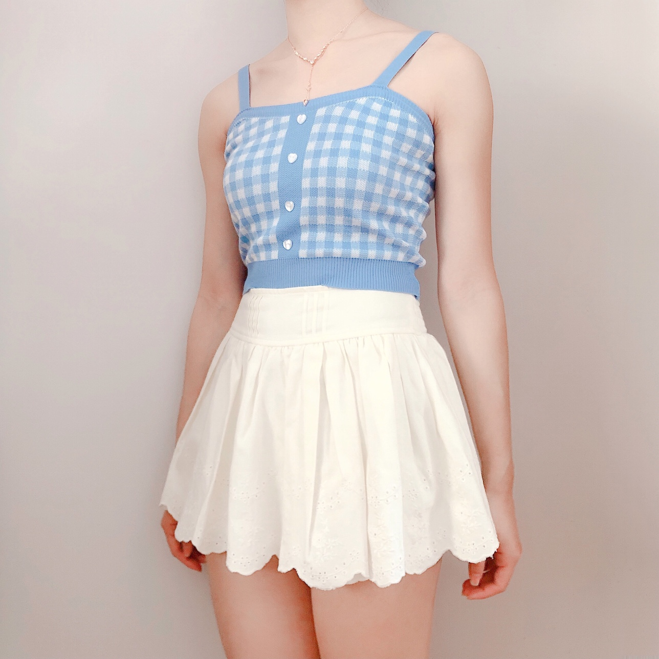 Blue Gingham Knit Camisole ♡ Heart buttons ♡ Super