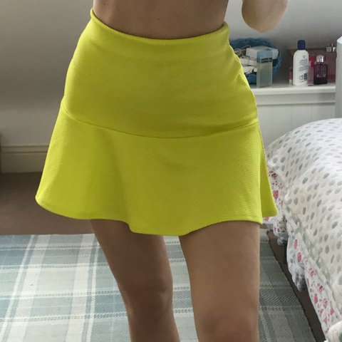 01d5dbf58d CITRUS YELLOW/LIME GREEN FRILLY MINI SKIRT from River on but - Depop