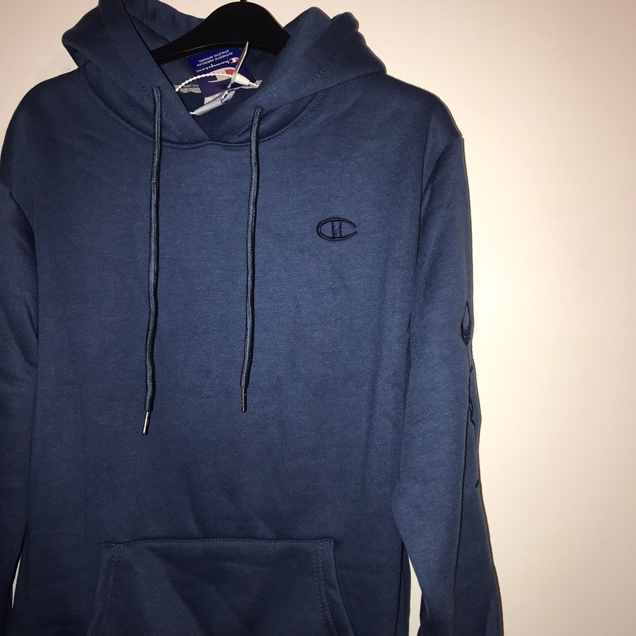 6e122264a7cd Brand new navy champion hoodie•Chinese size Large so more a - Depop