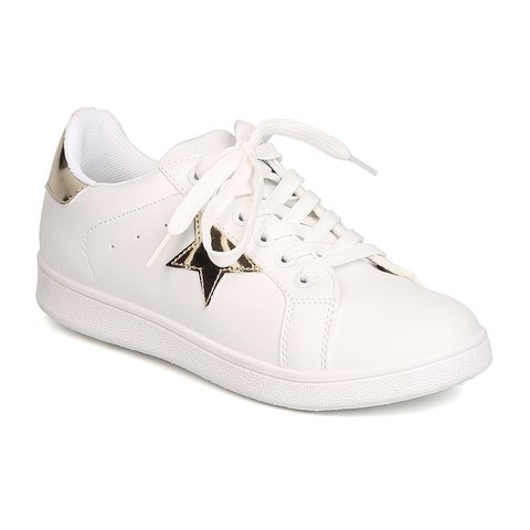 White Sneakers with Gold Stars !! super