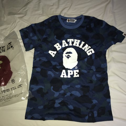 378793b8 Bape blue camo t shirt Size small but fits tight so #palace - Depop
