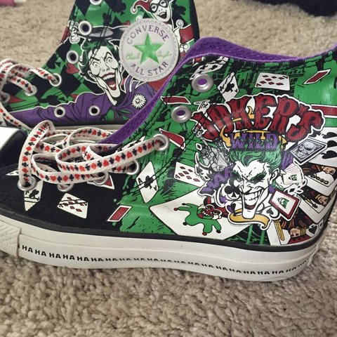 Joker And Harley Quinn All Star Converse High Tops Size 8 To Depop