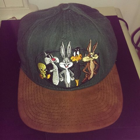 7d5505272c4 Vintage Rare Looney Tunes Dad Cap with brown suede brim. put - Depop