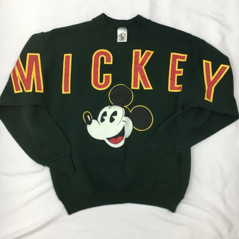 1fe043ed @vintagecollezion. 4 months ago. Chicago, United States. Vintage Disney  Mickey Mouse & Co Oversized Spellout Sweatshirt in Pine ...