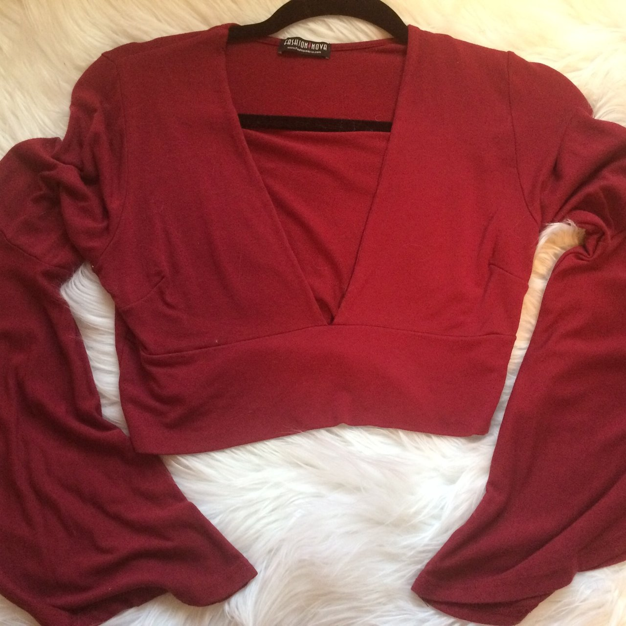 37e5a22746a Red bell sleeved top from fashion nova. Deep v neck top. M. - Depop