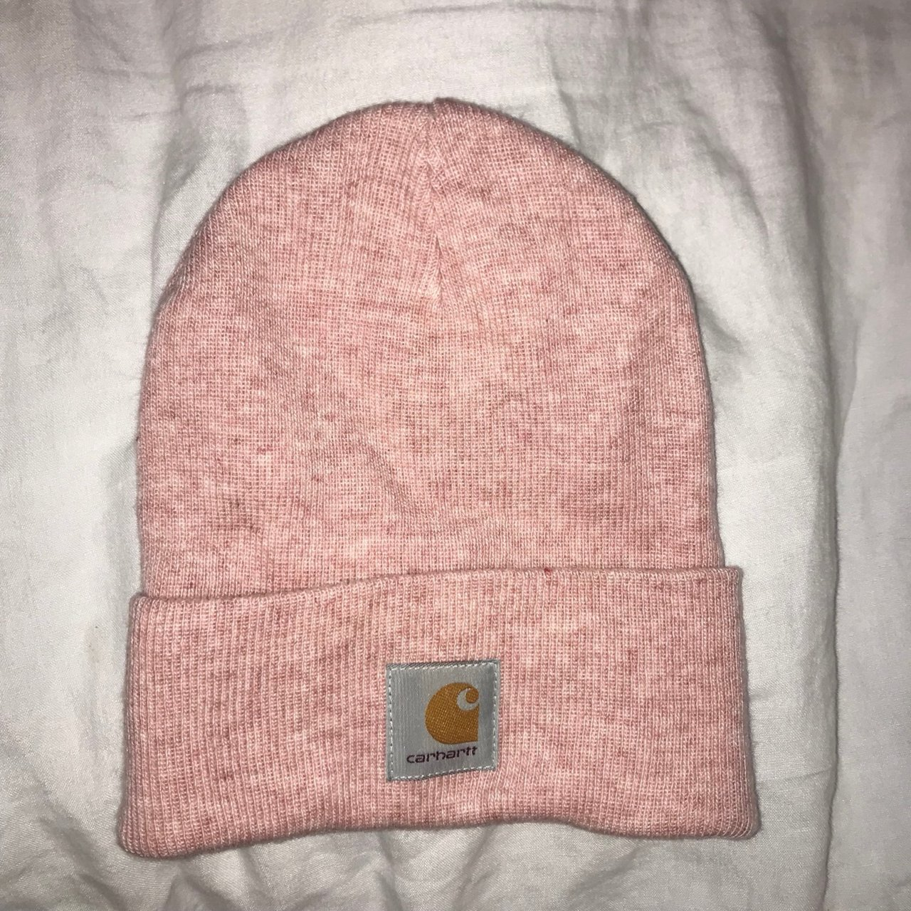 de94bc3d4d9 baby pink CARHARTT beanie hat in perfect condition message x - Depop