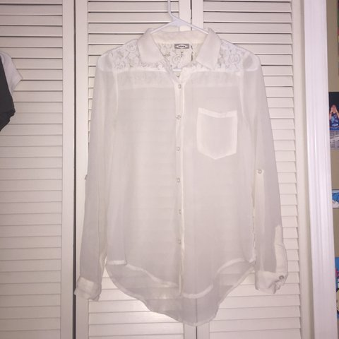 0d91bb5218 Dressy off white long sleeved button down blouse. Ideal for - Depop