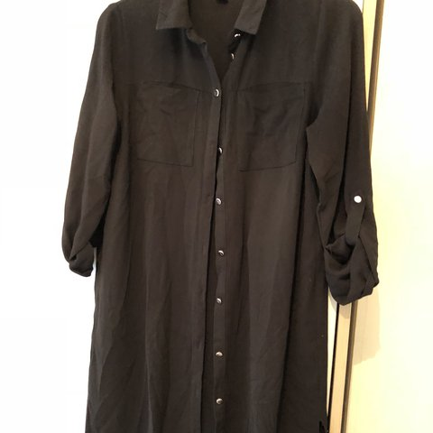 7c5306716e9a Primark black shirt dress size 10. Would fit a 12. Gold - Depop