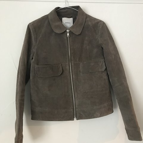 Mango Genuine Leather Jacket Size Small Few Marks But Good Depop