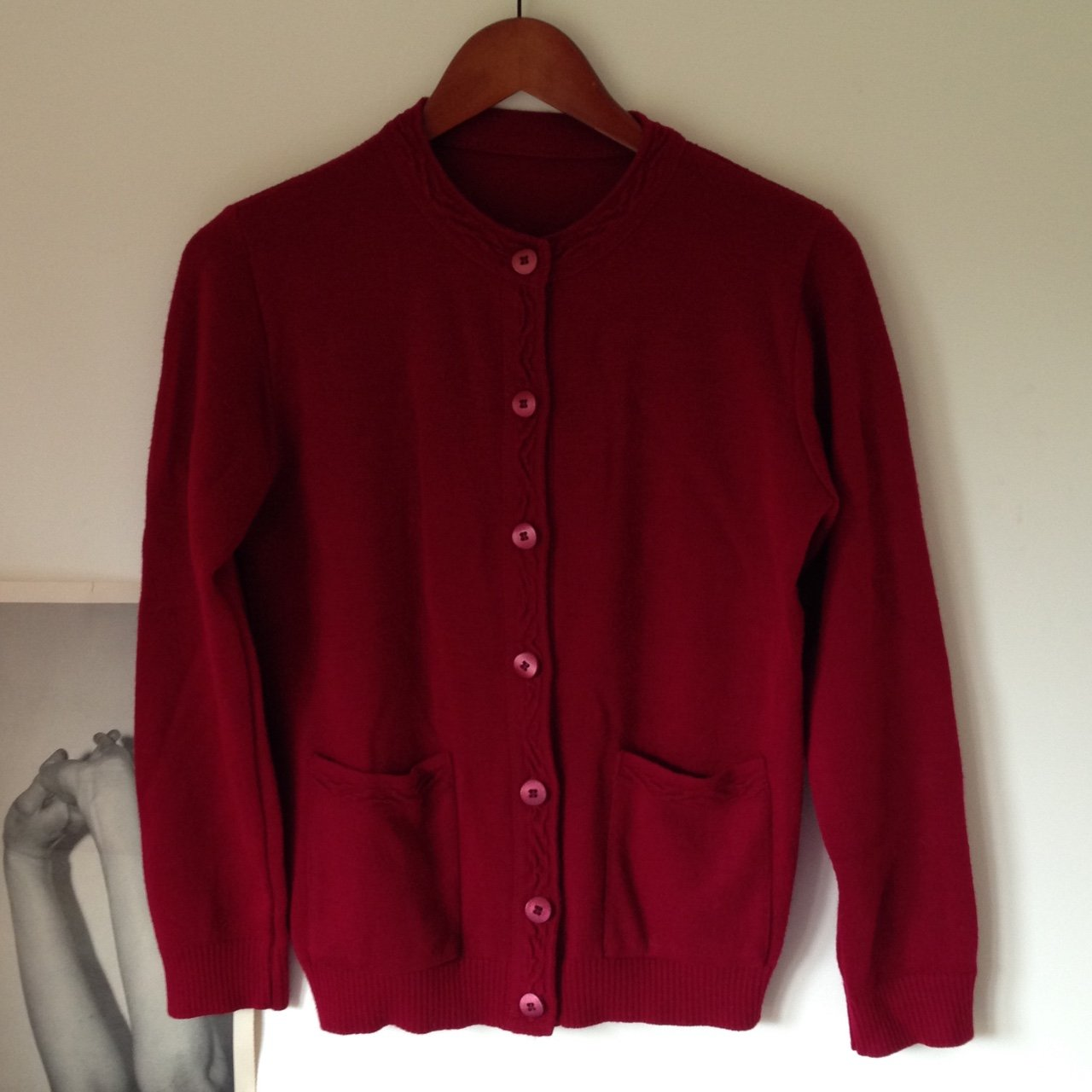 cc92fceec0 Cute red knit cardigan with pockets. Excellent condition. - Depop