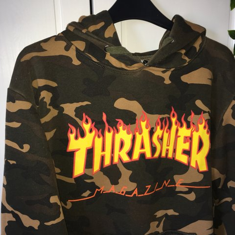 f39d236bf532 🔥 THRASHER FLAME CAMO HOODIE 🔥 don t think it s authentic - Depop