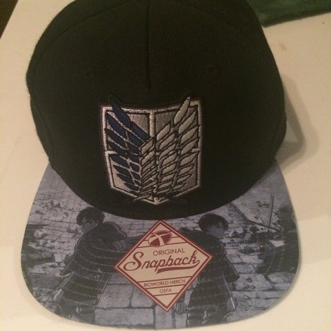 94fefa28f66 ✨ Rare Attack on Titan Snapback ✨ I can t find this hat but - Depop