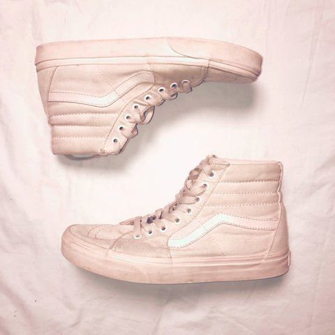 2c444f5c32d Soft baby pink (slightly worn) VANS high top cute old Has a - Depop