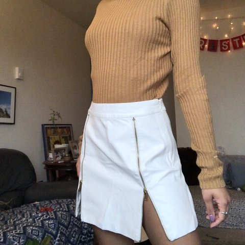 98757fc317 @stylessinseattle. 2 days ago. Seattle, United States. Sexy white faux  leather skirt ...