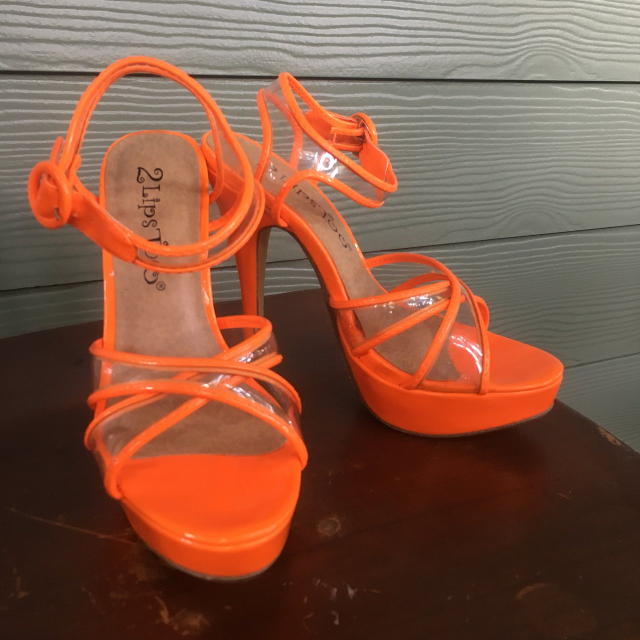 ad241883318 Neon orange heels with clear
