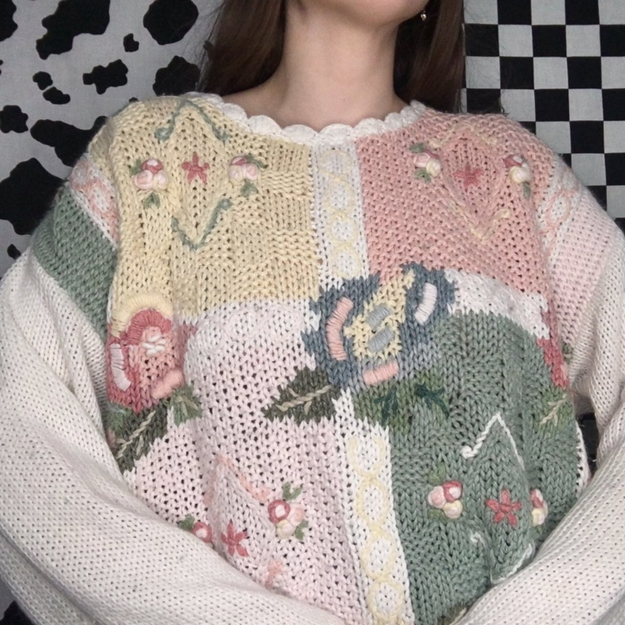 0277a56870 Amazing vintage 80s grandma knit sweater. Cute af pastel and - Depop