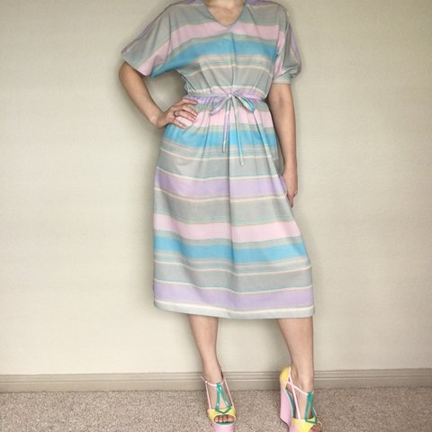 3aba6c8e5b Amazing vintage 80s pastel striped dress. So beautiful and a - Depop