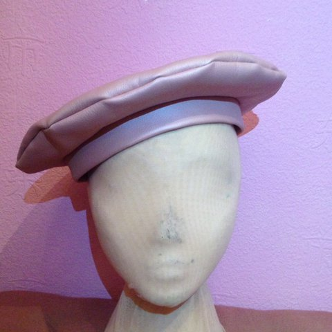cb8736e4f65a4 Baby pink faux leather 90 s style beret Made from a soft is - Depop
