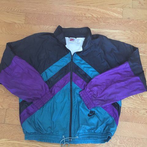 vintage purple blue and black colorblock NIKE windbreaker M - Depop 45d64301d