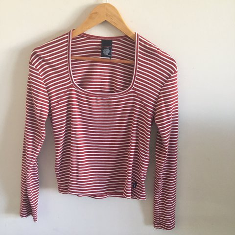 8d36ddb8b4170 TOMMY HILFIGER tommy jeans red and white striped long sleeve - Depop