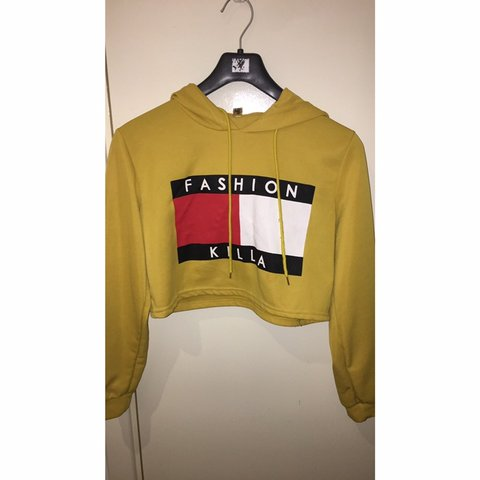 7b3ddefb9c8736 @toya2. 8 days ago. Leicester, United Kingdom. Yellow cropped 'Fashion Killa-Trilfiger'  hoodie/sweatshirt. With red and white