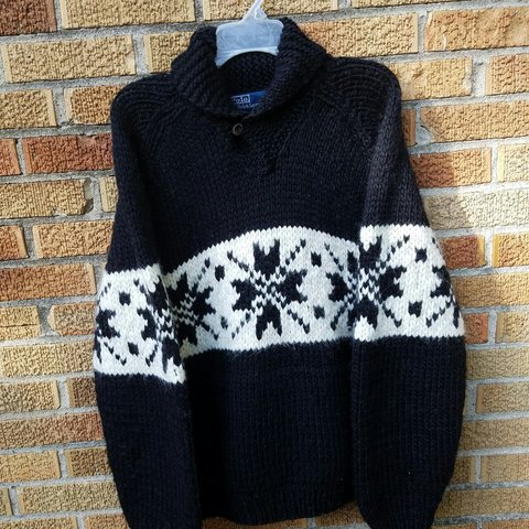 f82aa55e0  viceversavintage. 2 years ago. United States. Vintage Polo Ralph Lauren  Hand Knit Indian Shawl Sweater