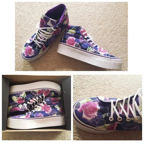 986b606870f8 vans  floral  flowers  purple  soldout ❣brand new never Too - Depop