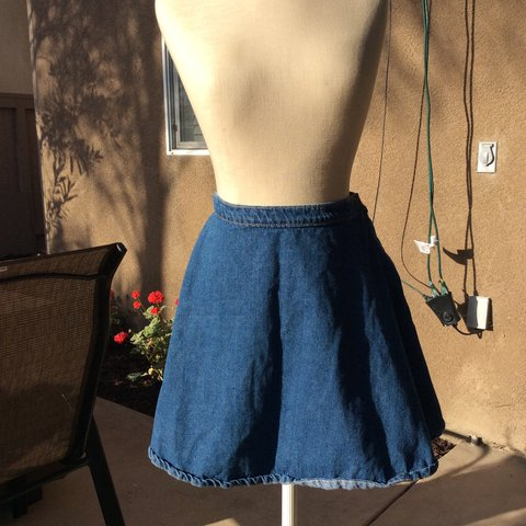 5ea31782c American apparel dark wash denim circle skirt - Depop