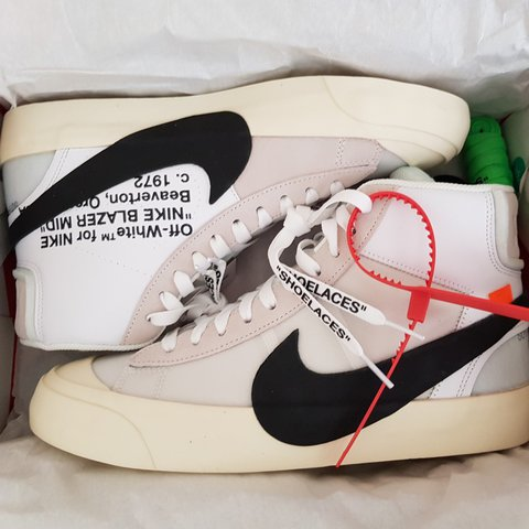 83ab41d8 @hartejanand1. 2 years ago. London, UK. Off white x nike blazer mid.  Deadstock